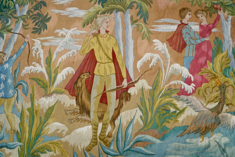 20th Century Belgian Figural Tapestry For Sale