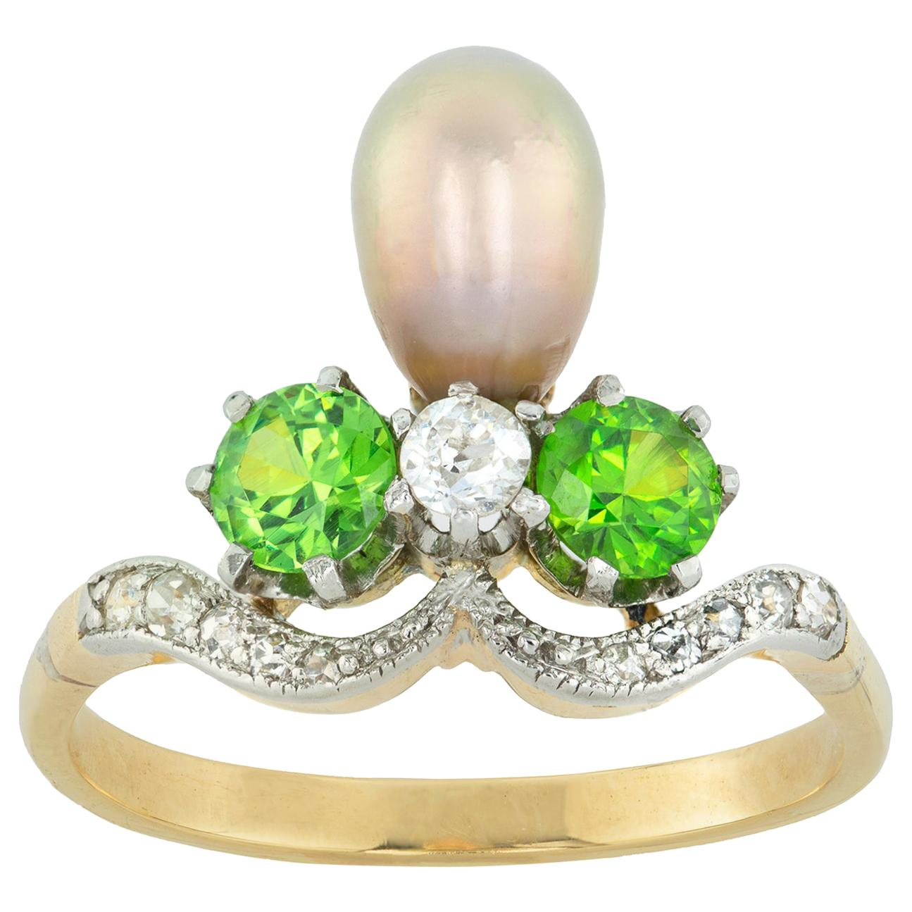 Belle Époque Natural Pearl, Garnet and Diamond Ring