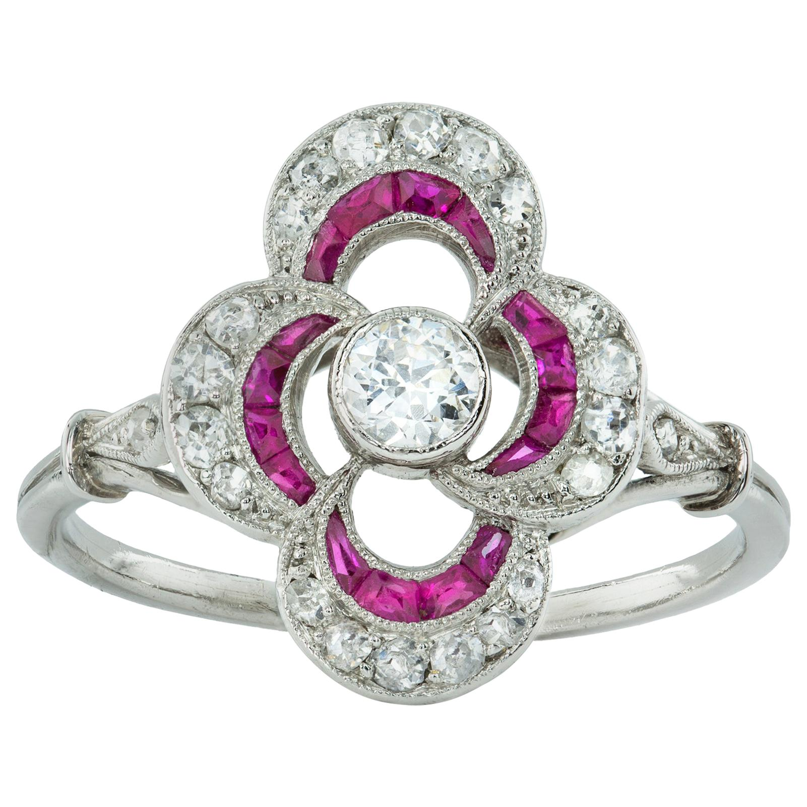 Belle-Époque Ruby and Diamond Cluster Ring