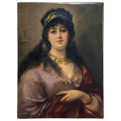 A Berlin KPM Hand Painted Porcelain Plaque - Biancchina 'The Gipsy Queen'