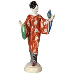 Berlin KPM Porcelain Model of a Japanese Lady with a Parrot, circa 1910