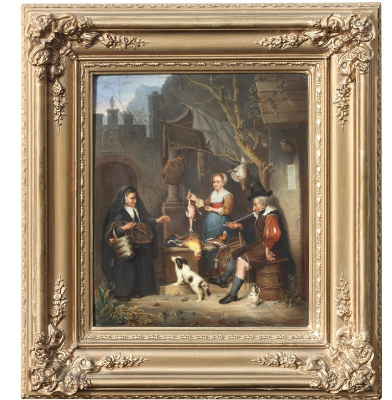 A Berlin 'K.P.M.' Porcelain Plaque, circa 1880 Painted with a Tavern Scene For Sale 3