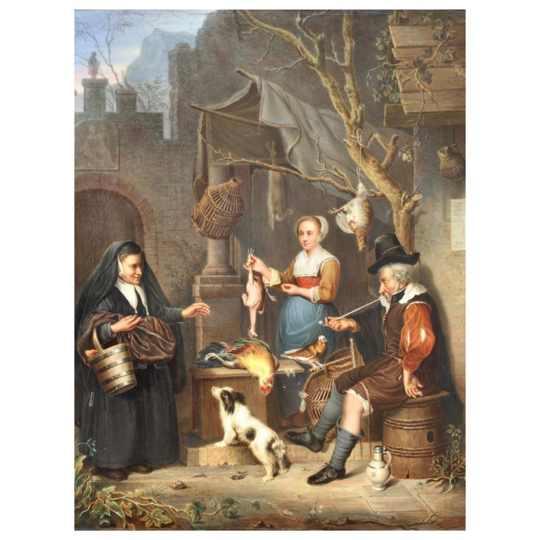 A Berlin 'K.P.M.' Porcelain Plaque, circa 1880 Painted with a Tavern Scene For Sale