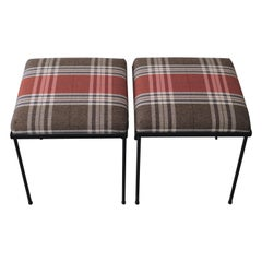 Bespoke Pair of Black Iron Stools with Plaid Upholstery