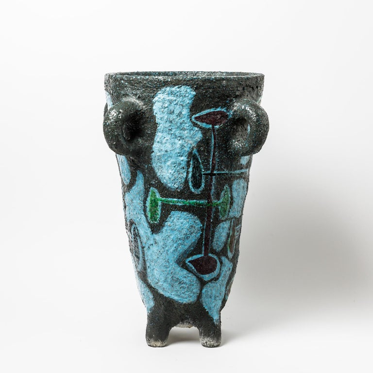 Beaux Arts Big Ceramic Floor Vase by Accolay, No Signed, circa 1960-1970 For Sale