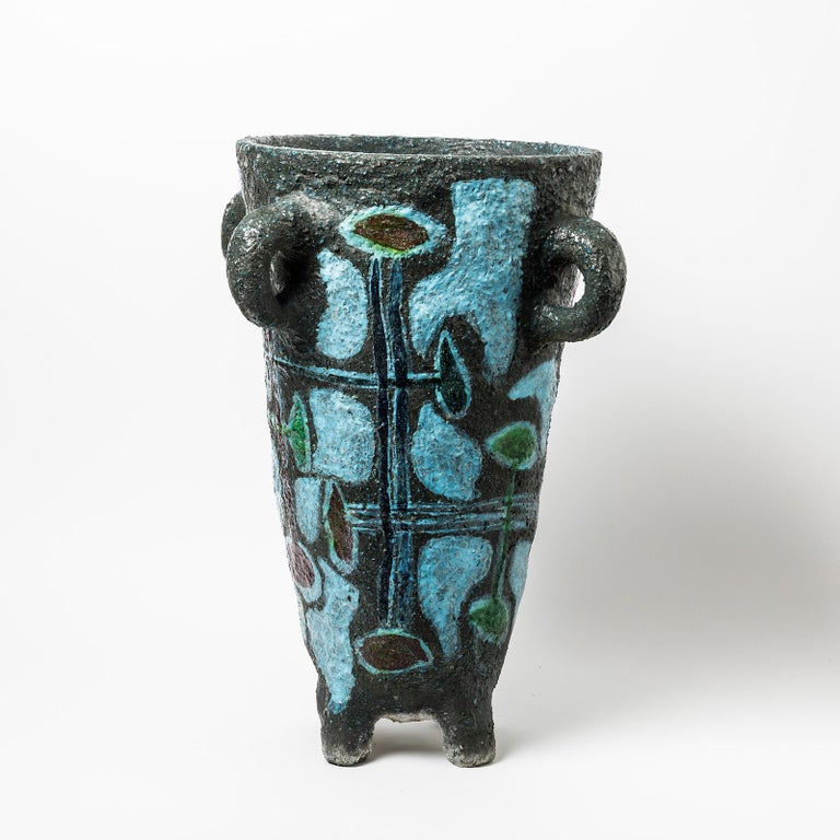 French Big Ceramic Floor Vase by Accolay, No Signed, circa 1960-1970 For Sale