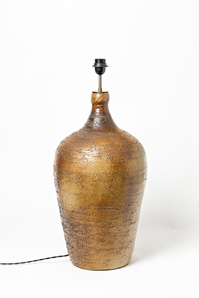 Beaux Arts Big Ceramic Lamp Signed Sesam, to Vallauris, circa 1960-1970 For Sale