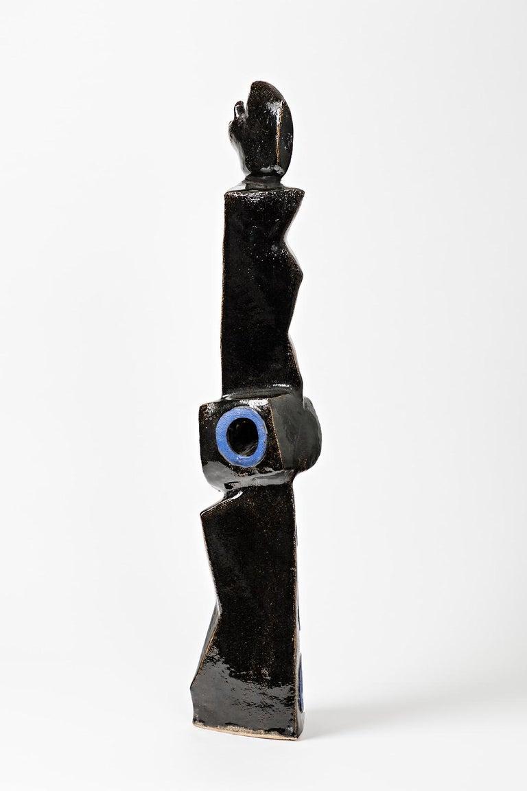 A big ceramic sculpture with black and blue glazes decoration by Michel Lanos (1926-2005). Perfect original decorations. Artist signature under the base, circa 1990. Unique piece.