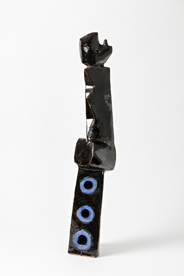 French Big Ceramic Sculpture with Black and Blue Glazes Decoration by Michel Lanos For Sale
