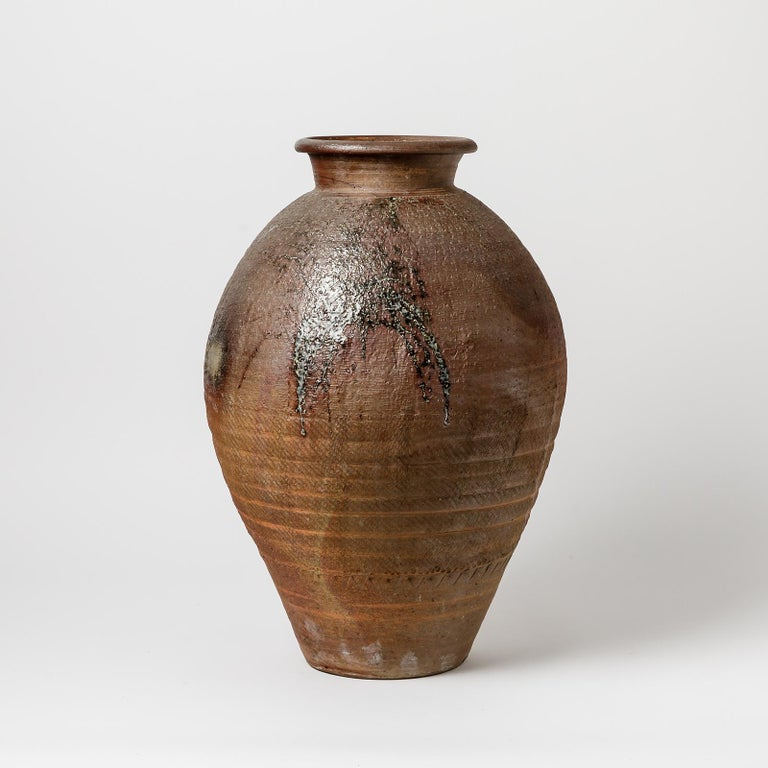 Beaux Arts Big Ceramic Vase by Steen Kepp, to La Borne, circa 1970-1980 For Sale