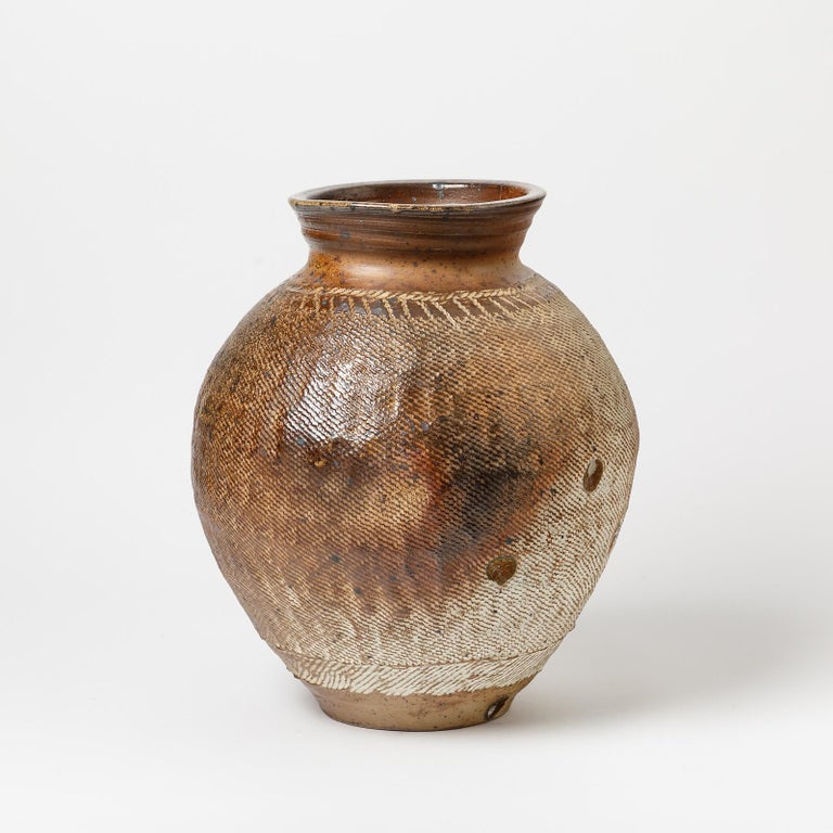 A big ceramic vase by Steen Kepp to La Borne. Wood firing. Unique piece. Signed under the base. Perfect original conditions.