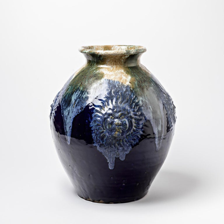 Beaux Arts Big Ceramic Vase with Blue Glazes Decoration by Lucien Arnaud, circa 1920 For Sale