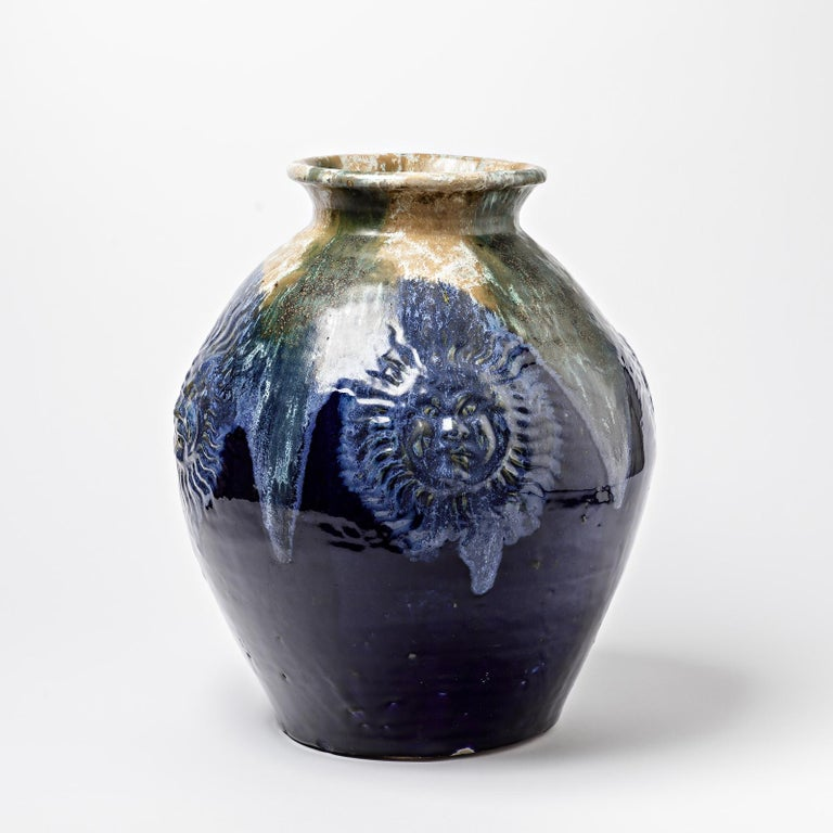 Big Ceramic Vase with Blue Glazes Decoration by Lucien Arnaud, circa 1920 In Excellent Condition For Sale In Saint-Ouen, FR
