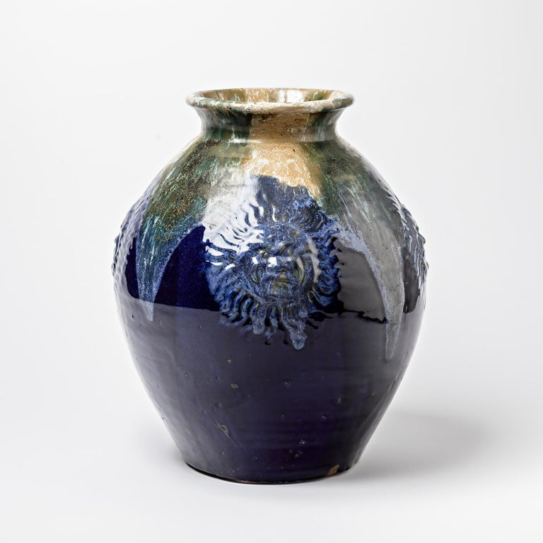 Big Ceramic Vase with Blue Glazes Decoration by Lucien Arnaud, circa 1920 For Sale 1