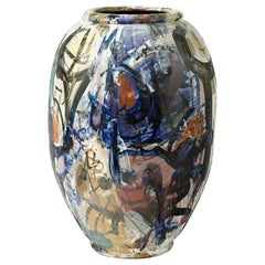 Big Ceramic Vase with Glazes Decoration by Michel Lanos