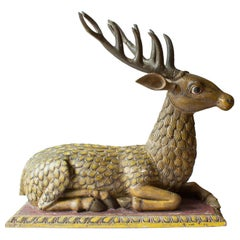 Big Hand Carved Painted Stag Sculpture in Wood, Early 1800th Century