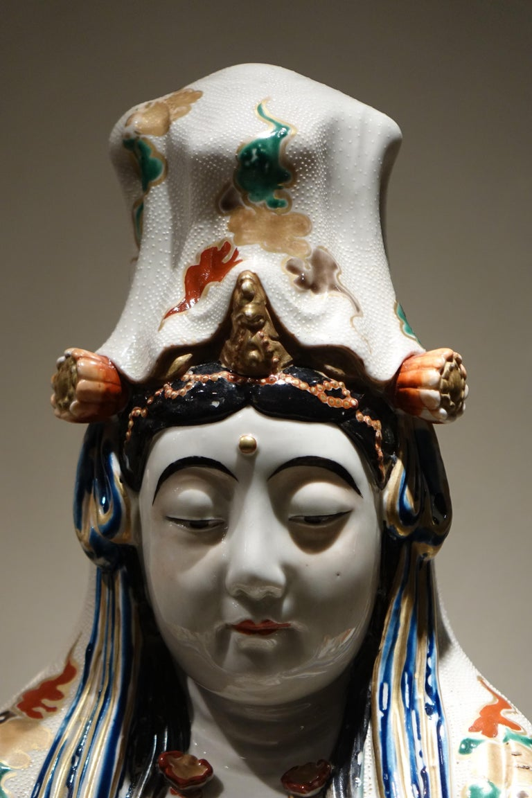 Japanese Big Statue of Kannon in Kutani Porcelain, Japan, Meiji Period, 19th Century For Sale