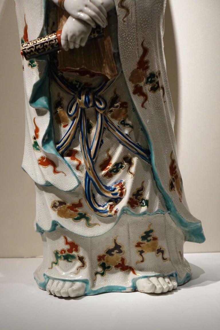 Late 19th Century Big Statue of Kannon in Kutani Porcelain, Japan, Meiji Period, 19th Century For Sale