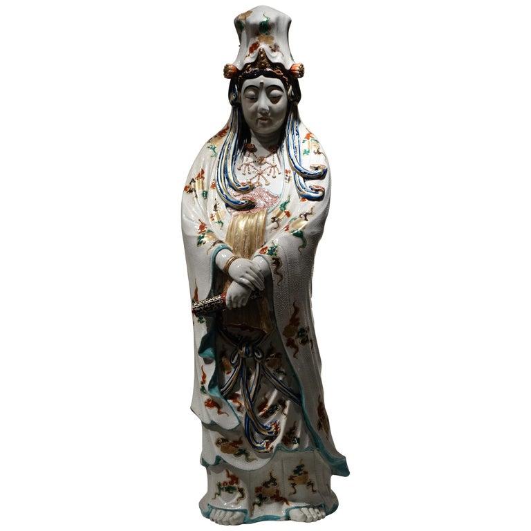 Big Statue of Kannon in Kutani Porcelain, Japan, Meiji Period, 19th Century For Sale