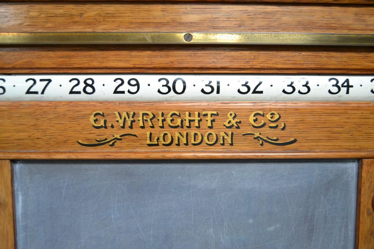 English Billiard snooker  pool scoring cabinet of english oak victorian 1880 For Sale