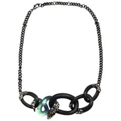 A. Bittar Black/Iridescent Blue Lucite, Labradorite & Crystal Snake Necklace