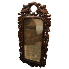 Black Forest 19th Century Oak, Hand Carved Hanging Wall Mirror with Foliage