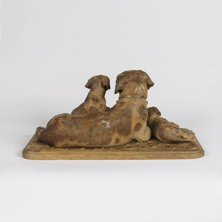 Swiss 'Black Forest' Carved Dog Group For Sale