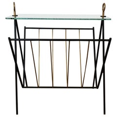 Black Lacquered Metal and Brass Magazine Rack Attributed to Jacques Adnet