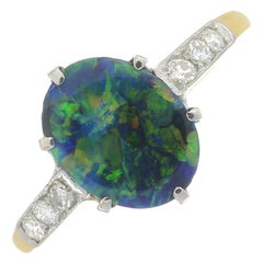 Black Opal Single-Stone and Diamond Ring