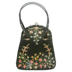 A black silk and glass hand painted floral design handbag, Waldybags, UK, 1950s