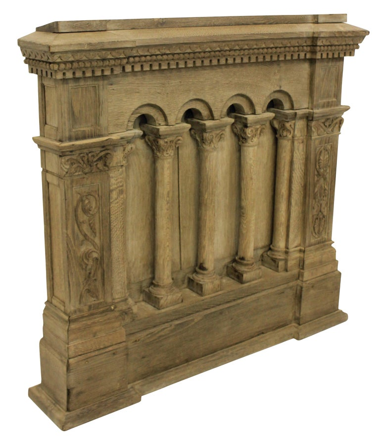 French bleached oak Romanesque carving, formerly the front of a church choir stall.