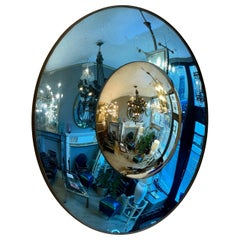 Blue and Silver Distressed Glass Convex Mirror