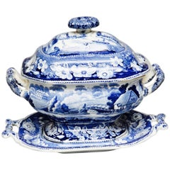 Blue and White Antique Tureen on Its Stand with Lid