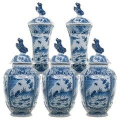 Blue and White Dutch Delft 5-Piece Garniture