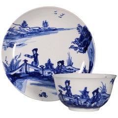 Blue and White Vauxhall Tea Bowl and Saucer, circa 1755-1758