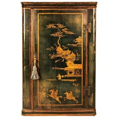 Blue Ground English Chinoiserie Japanned Corner Cupboard or Cabinet, circa 1710