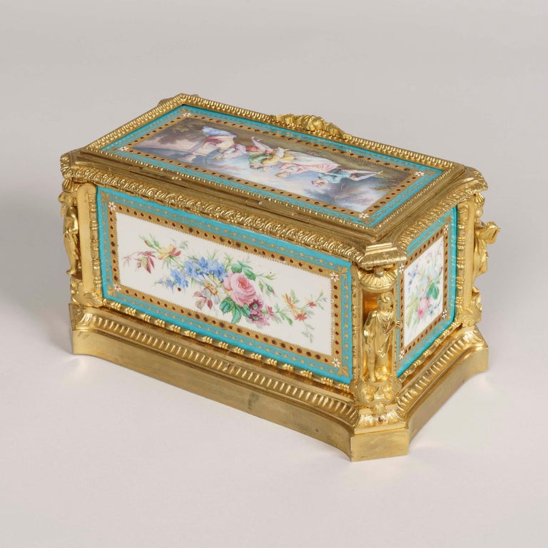 French Blue Porcelain and Gilt Jewelry Box in the Louis XVI Style For Sale