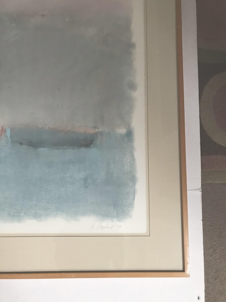 Boat Lost at Dusk Watercolor Signed Shelly Shepperd, 1979 In Excellent Condition For Sale In Pasadena, CA