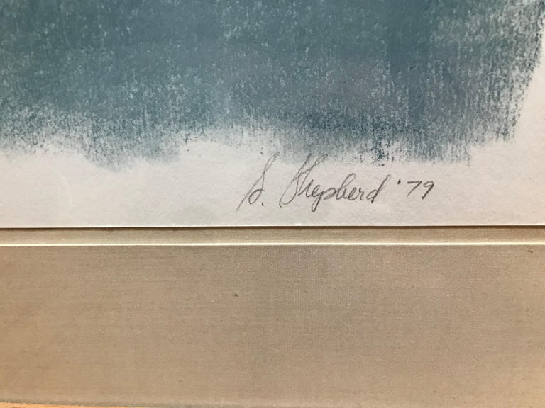 Boat Lost at Dusk Watercolor Signed Shelly Shepperd, 1979 For Sale 2