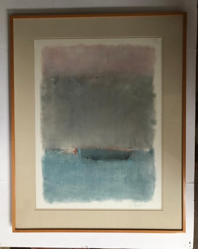 Boat Lost at Dusk Watercolor Signed Shelly Shepperd, 1979 For Sale 3