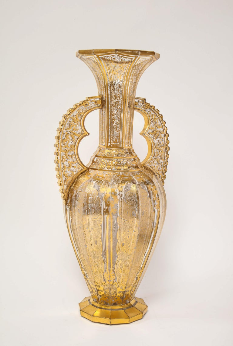 A Bohemian cut-glass vase in the