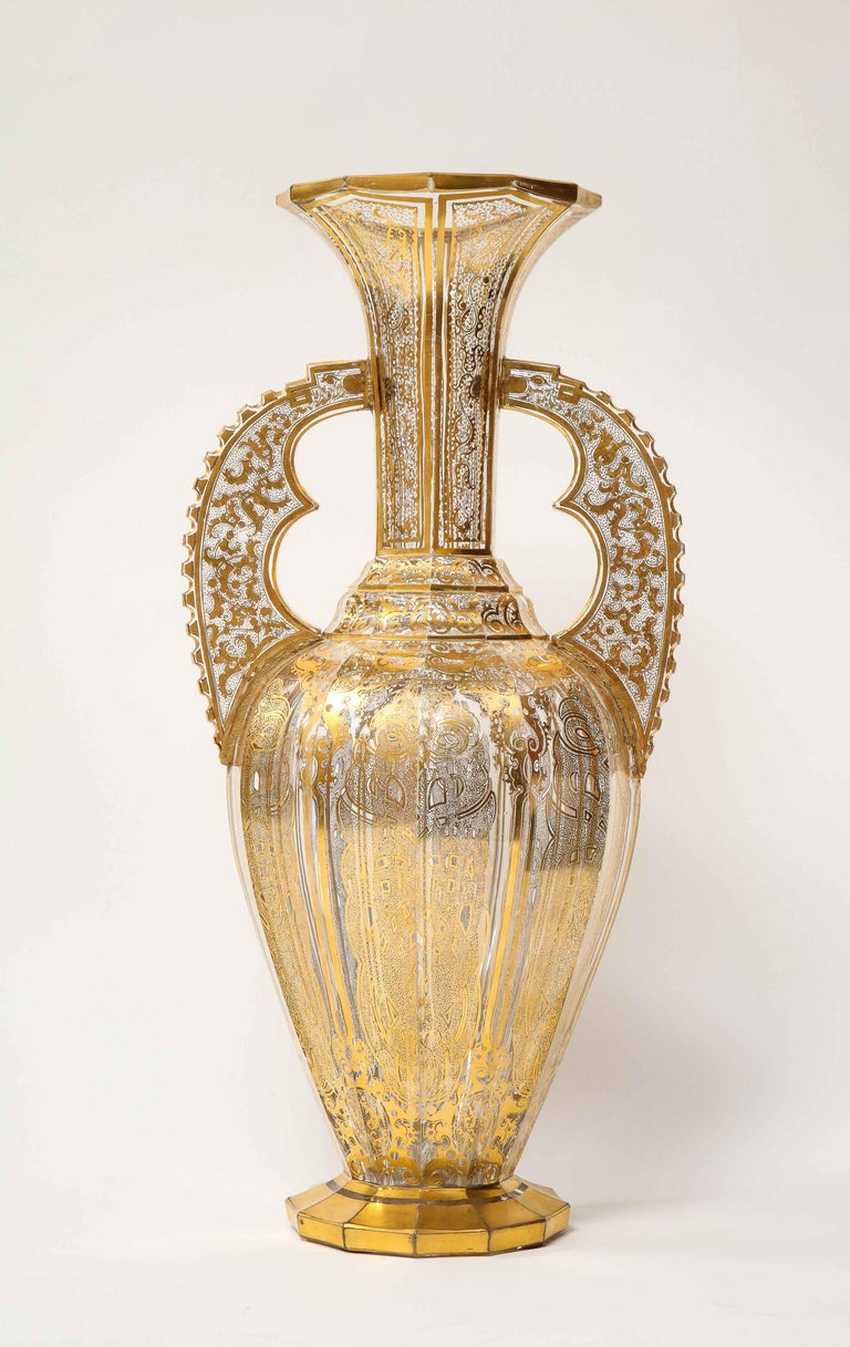 Moorish Bohemian Cut-Glass Vase in the