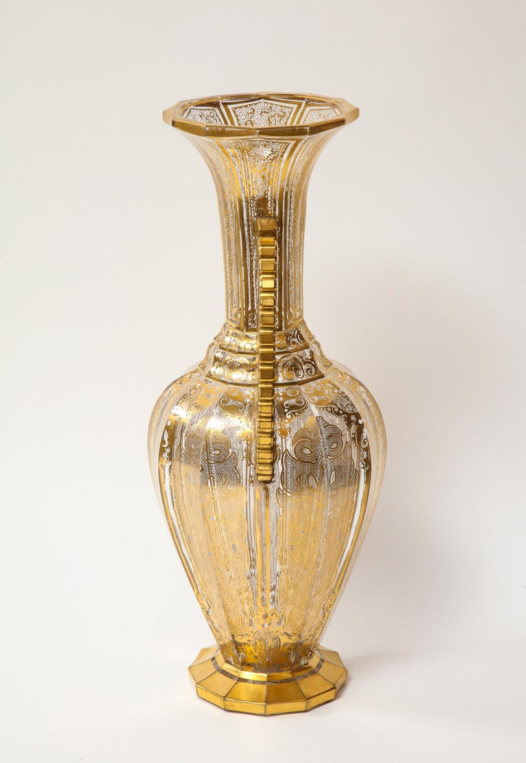 19th Century Bohemian Cut-Glass Vase in the