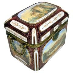 Bohemian Ruby Overlay Glass Scenic Casket Box 19C