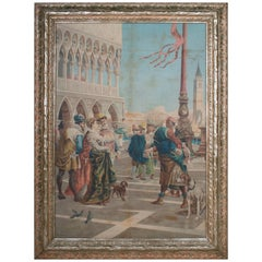 A. Borsari da Delleani 1920s French Framed Oil on Canvas Venice Scene