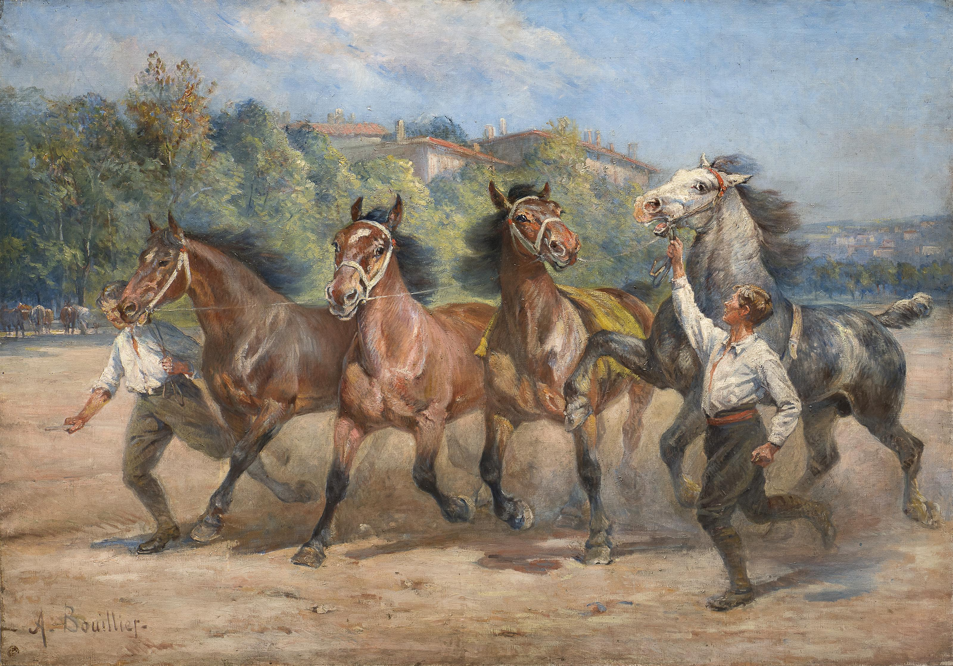Huge Painting with Racehorses and Young Jockeys 1920'
