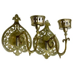 Brass 19th Century Wall Candle Holders
