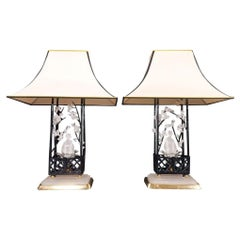 Brass and Matte Crystal Maison Baguès Table Lamp