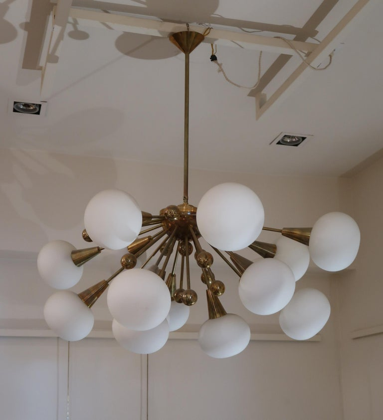 Mid-Century Modern Brass and Opaline Glass Midcentury Italian Ceiling Lamp, 1970 For Sale