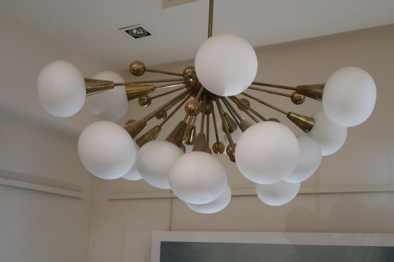 Brass and Opaline Glass Midcentury Italian Ceiling Lamp, 1970 In Good Condition For Sale In Madrid, ES
